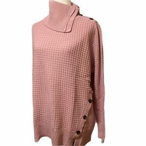 Woman Within Mauve Button Detail Sweater NWT